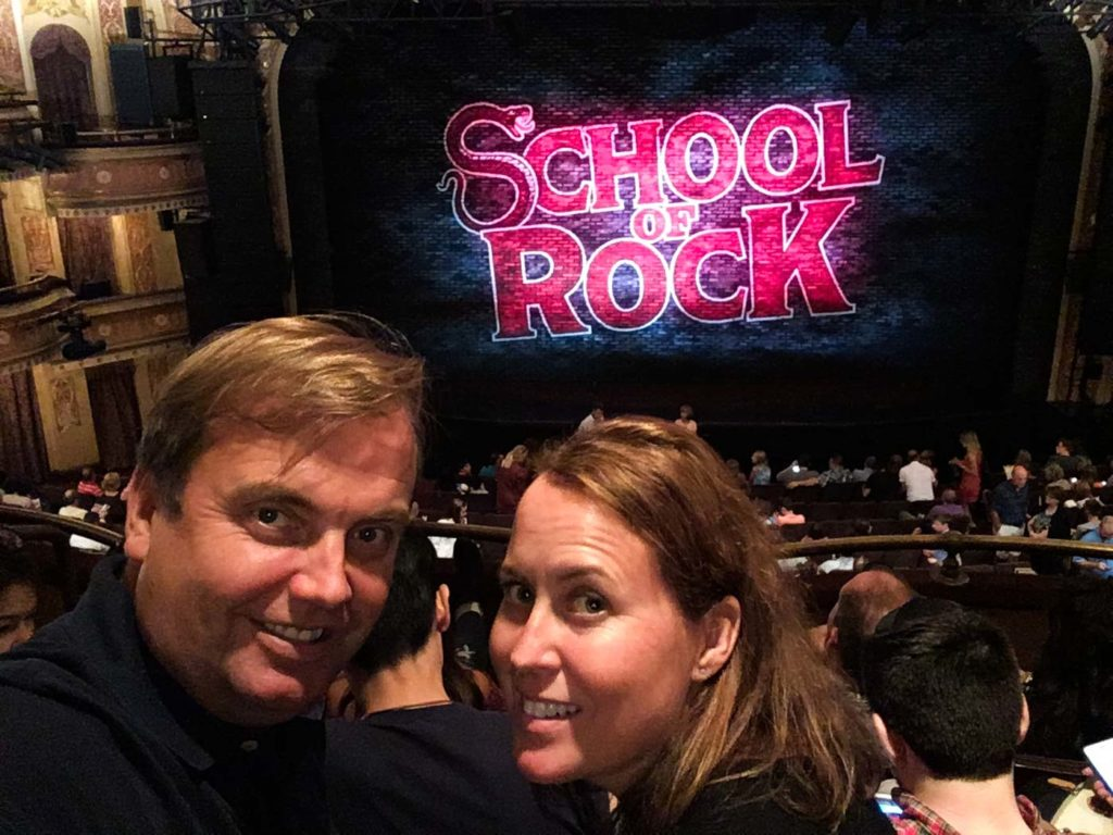 School of rock on Broadway with Mattias Brannholm and Camilla Naslund.