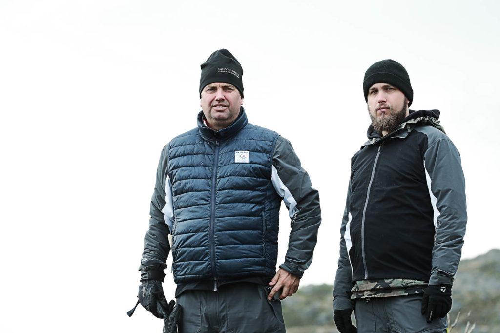 Mattias Brännholm och Roy Rossovich på filminspelning i Lofoten i maj 2016.