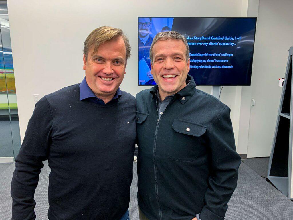 Storybrand Certified Guide i Sverige Mattias Brännholm med Storybrands grundare Don Miller